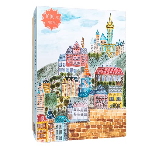 Elewhite Vibrant Castle City: Whimsical Puzzles 1000 Pieces, Hand-Painted Watercolor Art Puzzle for Adults and Kids, Castle Puzzle of Europe with Large Poster, Back Letter, Random Cut, Matte Finish