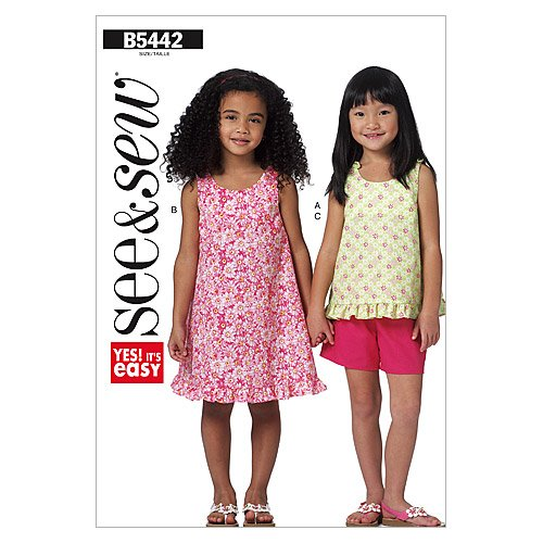 BUTTERICK PATTERNS B5442 Toddler's/Children's Top, Dress and Shorts, Size B (4-5-6)
