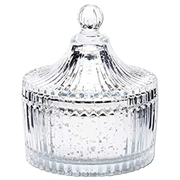 Silver Mercury Glass Canister Decorative Jar Container for Bathroom  4 In
