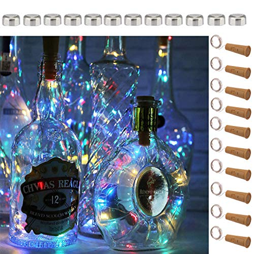 SFUN Wine Bottle Lights with Cork- 5 Dimmable Modes with Timer 10 Pack-12 Replacement Battery Operated LED Silver Wire Fairy String Lights for DIY, Party, Decor, Christmas, Halloween,Wedding