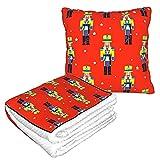 Red Star Nutcracker Blanket Super Soft 2 in 1 Travel Blanket Pillow Blanket
