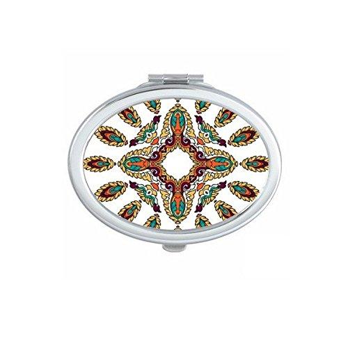 Boeddhisme Religie Boeddhistische Kleurrijke Asymmetrische Abstract Illustratie Patroon Ovaal Compact Make-up Pocket Spiegel Draagbare Leuke Kleine Hand Spiegels