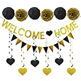 Lnlofen Welcome Home Banner Sign Decoration Kit, 14pcs Welcome Back Family Party Decorations Supplies - Including Welcome Home Banner, Triangle Flag, 6pcs Hanging Swirls, 6pcs Poms