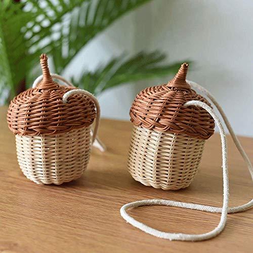 jadlahf Mini Handbag Shooting Children's Props, Rattan Basket, Diagonal Woven Bag, Hanging Basket, Children's Bag (small)