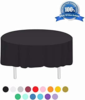 Disposable Tablecloth 6 Pack Plastic Round Table Cloths 84in. x 84in. Table Covers for Parties Birthdays Picnic Weddings Christmas Indoor or Outdoor Use(Black)
