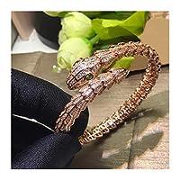 新しいヘビボーンフラワーボディラインストーンカップルブレスレット高品質セイコー恋人のための最高の贈り物 (Gem Color : Rose Gold)