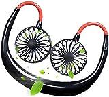 Mini ventilador USB para el cuello, mini ventilador portátil para colgar, con 3 velocidades, recargable, manos libres, para correr, camping, escalada, viajes