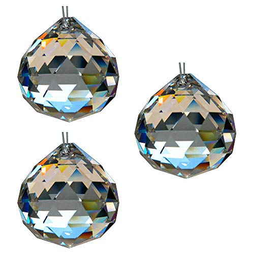 HAB&GUT G701 Leuchten Kristallkugel ø 30 mm 3 Stück 30% Bleikristall Regenbogenkristall Kristall Kugeln zum aufhängen Fensterdeko Feng Shui Kristallglas