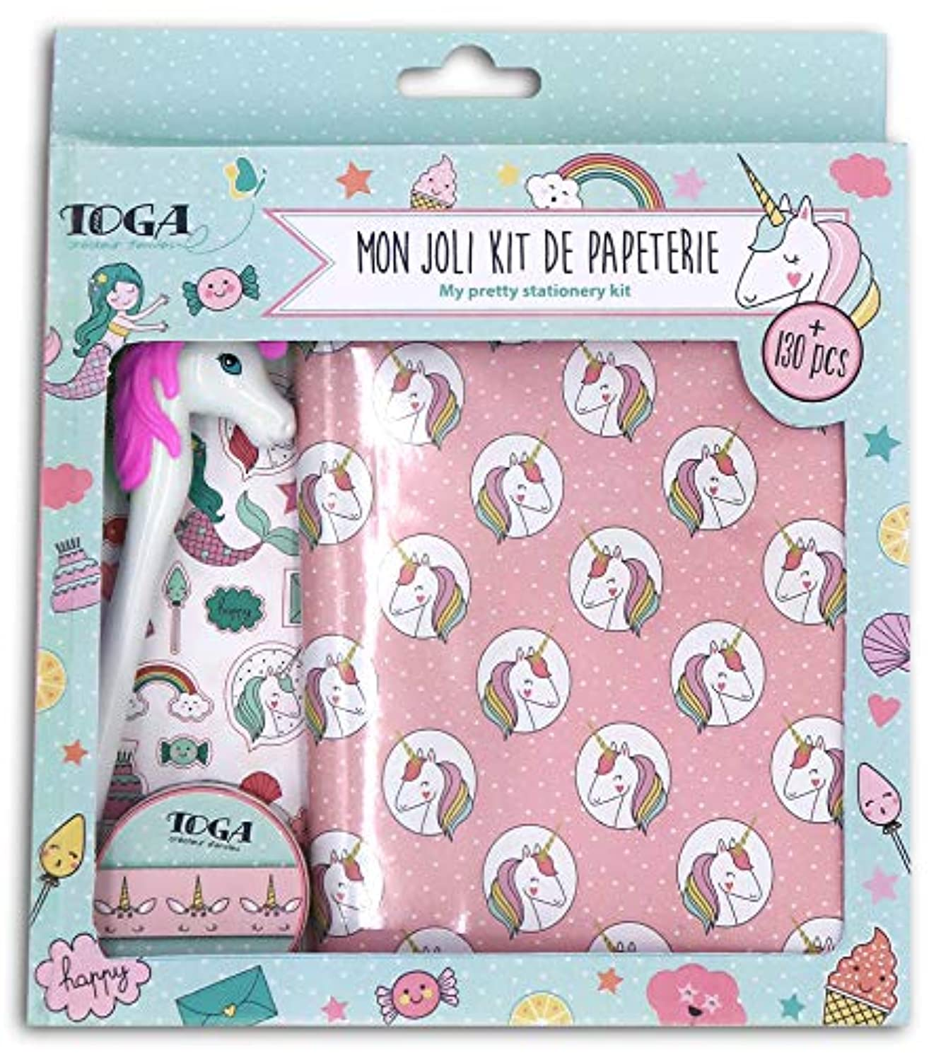 Toga Unicorn and Mermaid Stationery Kit, Paper, Multi-Colour, Notebook 13 x 18 cm