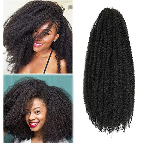 Marley Hair Cuabn Twist Hair 20 Inch 3 Packs Afro kinky Twist Crochet Hair Marley Twist for Faux Locs Braiding Synthetic Hair (20 Inch (Pack of 3), 1B)