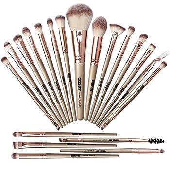Makeup Brush Set,20 Pcs Professional Makeup Brushes Foundation Eyeshadow Blush Brush,Travel Kabuki Blending Concealers Face Powder Eye Make Up Brushes Set Kit  Champagne