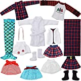 15 PCS Santa-Couture Clothing-Accessories Set Include Skirts, Mermaid, Bathrobe, Sleeping Bag, Fluffy Vest, Shirt, T-Shirt, Dot Scarf and 2 Pairs of Boots, Fits for Elf-Doll
