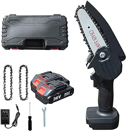 Mini sierra de cadena eléctrica con batería de 4 pulgadas con alimentación...