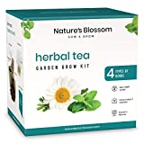 Nature's Blossom Herbal Teas Garden Kit. Everything a Beginner Gardener Needs to Grow Indoors 4 Herbs from Seeds - Mint, Chamomile, Lemon Balm and Catnip.