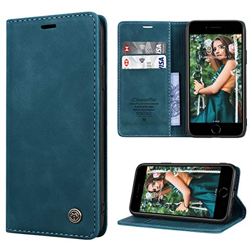 RuiPower Handyhülle für iPhone SE 2020 Hülle, iPhone 7 Hülle, iPhone 8 Hülle Premium Leder PU Flip Hülle Magnet Klapphülle Silikon Bumper Schutzhülle für iPhone7/ 8/ SE 2020 Tasche - Blaugrün