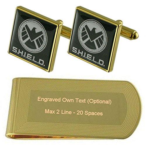 Select Gifts Agent Shield Gold-Manschettenknöpfe Geldscheinklammer Gravur Geschenkset