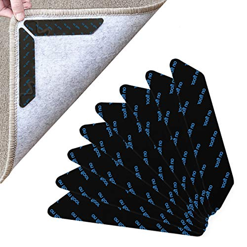 Kissral 8 Stück Teppichgreifer Antirutschmatte, Washable Antirutschmatte Teppichunterlage Wiederverwendbar Rutschfester Teppichunterlage Teppich Aufkleber Teppichstopper Teppich Ecken (Schwarz)