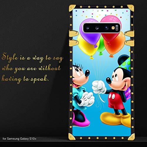CDISNEY COLLECTION Coque pour Samsung Galaxy S10+ Mickey Mouse Happy Birthday Minnie Minnie Minnie Coque en TPU Souple Protection Complète Anti-chocs