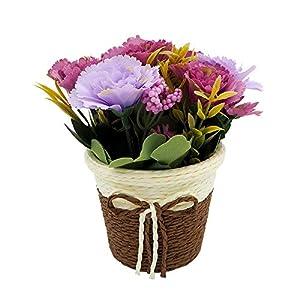 Artificial Carnation Sunflower with Rattan Vase Silk Fake Flower Artificial Simulation Plant Bonsai Set Home Office Bathroom Desk Wedding Decorations (Purple)