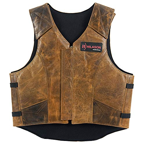 HILASON X Large Leather Bareback Pro Rodeo Horse Riding Protective Vest