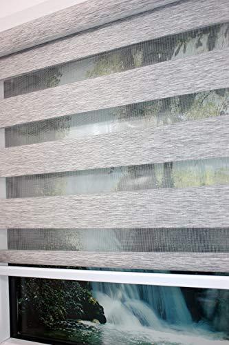 Dubbel rolgordijn duo-rolgordijn kleur lichtgrijs 100 cm x 170 cm met brede verzwaring + gesloten cassette + kettingkoord alternatief voor gordijn of plissé