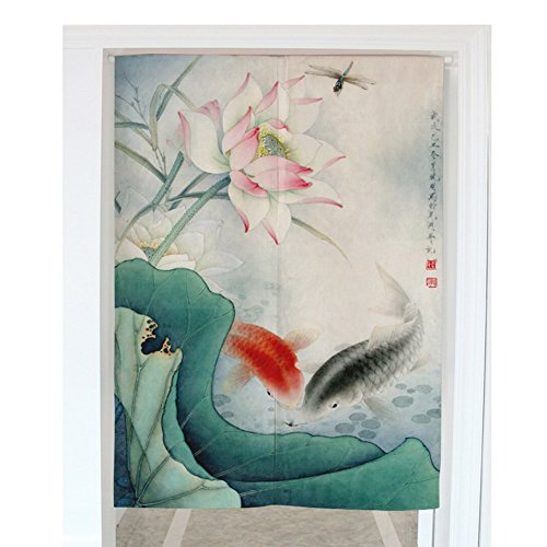 """Crazy Cart Traditional Chinese Ink Wash Painting Pattern Door Curtain Japanese Noren Curtain Bedroom Curtain Doorway Curtain (33.5""""x59.1"""")"""