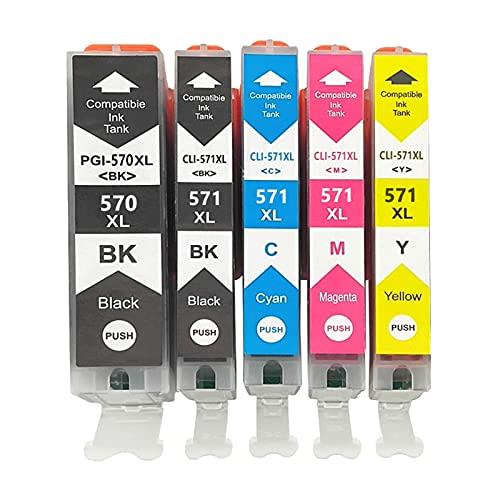 RICR 570 571XL Cartuchos de Tinta remanufacturados para Canon PGI-570 CLI-571 Reemplazo, Compatible con PIXMA TS5050 TS5050 TS5053 PIXMA MG5750 MG5751 MG5752 1set