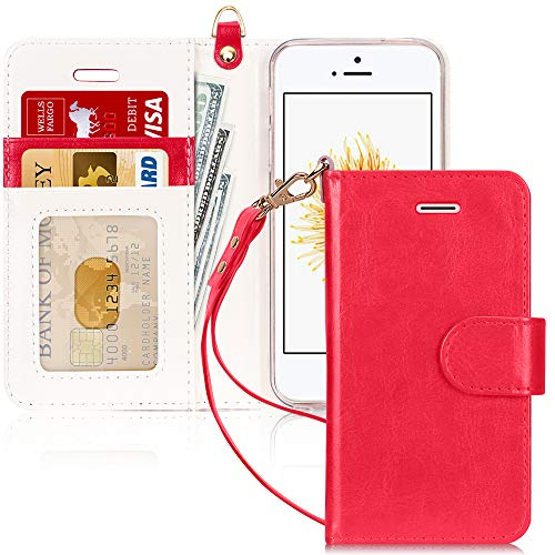 FYY Schutzhülle iPhone 5SE Schutzhülle, [Serien High-End] Ledertasche von Erste Qualität mit Coverture Allmächtige für iPhone 5SE D2-Rouge SE/5S/5