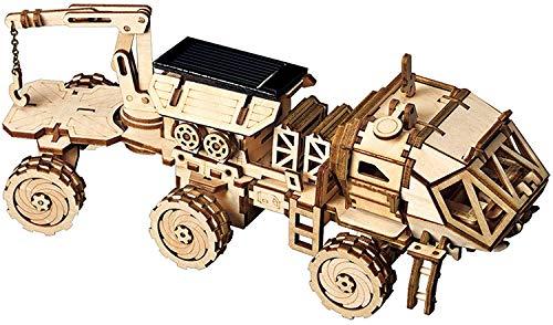 Robotime Solar Powered Stem Toys - Laser Cutting Robot DIY Kits de Modelo de Coche - Rompecabezas de Madera 3D Age 14 3D Puzzles Adult (Carry Rover)