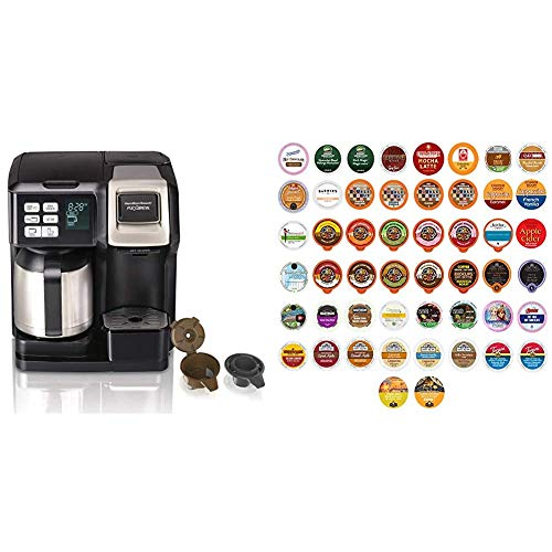 Hamilton Beach FlexBrew Thermal Coffee Maker, Single Serve & Full Pot, Black and Stainless & Variety Pack of Coffee, Tea, and Hot Chocolate - Great Sampler of Coffee, Tea - Huge 50 Pack of Pods