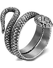 JewelryWe Anello Grande Punk da Uomo, Serpente Stile, Colore da Scelta