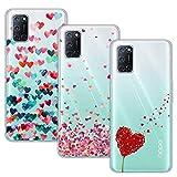 Young & Min Cover per Oppo A52/ Oppo A72, 3 Pack Morbido Trasparente Silicone Custodie Protettivo TPU Gel Case, Amore