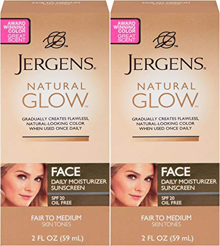 Jergens Glow Face Daily Moisturizer Sunscreen SPF 20, Fair to Med, 2 Ounce - 2 Pack by Jergens