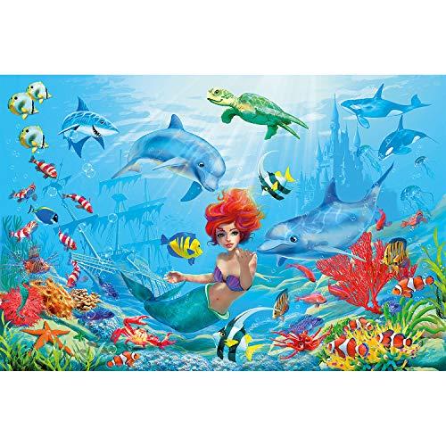 Great Art zeemeermin, wanddecoratie, aquarium, fotobehang, onderwater, afbeelding, koraal, vissen, sprookjes, wallpaper, muurbehang, poster, wanddecoratie 140 x 100 cm - 1 Teil