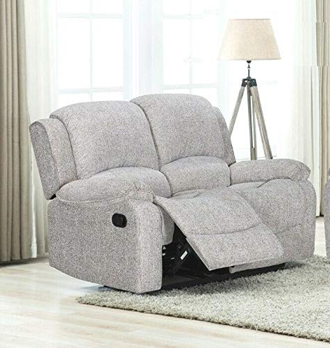 SILVER GREY Luxury Soft Fabric Material 2 Seater Recliner Reclining Sofa Suite SUFFOLK (Two Seats)
