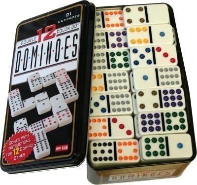GMMH Domino Color Doppel 12 in Metalldose 91 Stück mit farbigen Punkten