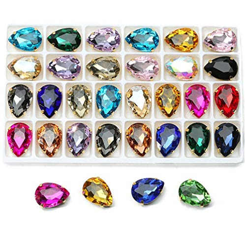 48 Pcs Sew On Crystal Rhinestone Tear Drop Flatback Gold Setting Sew On Crystal by Choupee (Mixed Color, 13 X 18 MM)