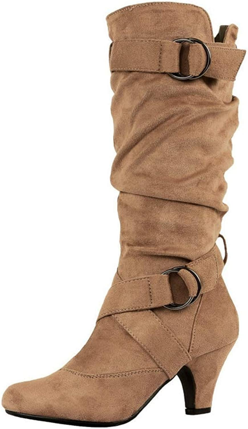 Ghssheh Fashion Womens Winter Slouchy Mid Calf Boots Casual Belt Buckle Boots Women Suede Sexy Low Heels Boots Martin Boots Black 5.5 M US