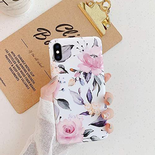 Saceebe Compatible avec iPhone XR Coque Fleur Feuilles Dessin Antichoc TPU Housse de Protection Silicone Motif Souple Etui Antichoc Ultra Mince Fine Housse Bumper,Fleur Rose