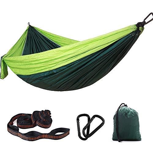 Bling Camping Hammock 300 x 200 cm pour 2 Personnes, léger et Portable en Parachute en Nylon Double hamac avec des Sangles pour Backpacking, Camping, Voyage, Plage, Jardin,Vert