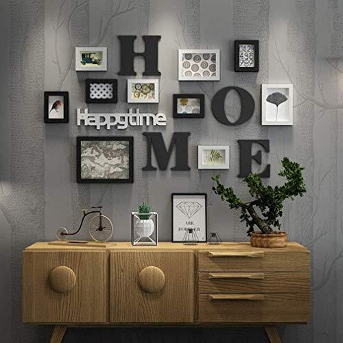 YANXY Legno massello Muro di Foto cornici,Vintage Creativo Set di cornici portafoto Home Ufficio Multi Foto Combinazione di Parete Foto