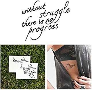 Tattify Inspirational Quote Temporary Tattoo - Progress (Set of 2) - Other Styles Available - Fashionable Temporary Tattoos - Long Lasting and Waterproof