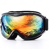 Juli Ski Goggle/Snow Snowboard Goggles for Men, Women & Youth - 100% UV Protection Anti-Fog Dual Lens(Black Frame+15% VLT Colorful Len)