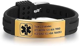 Grand Made Personalisierte medizinische Alert ID Armbänder 9 Zoll Silikon Einstellbare..