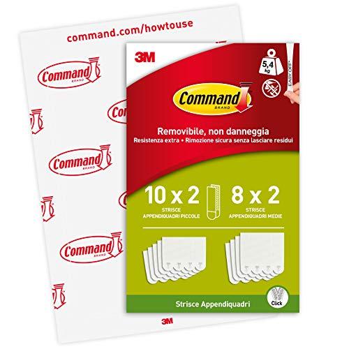Command Strisce Adesive Appendiquadri Piccole e Medie, Confezione da 4 Coppie di strisce, Taglia S e M, Colore Bianco, Strisce Adesive da Muro per Quadri, Cornici e Poster