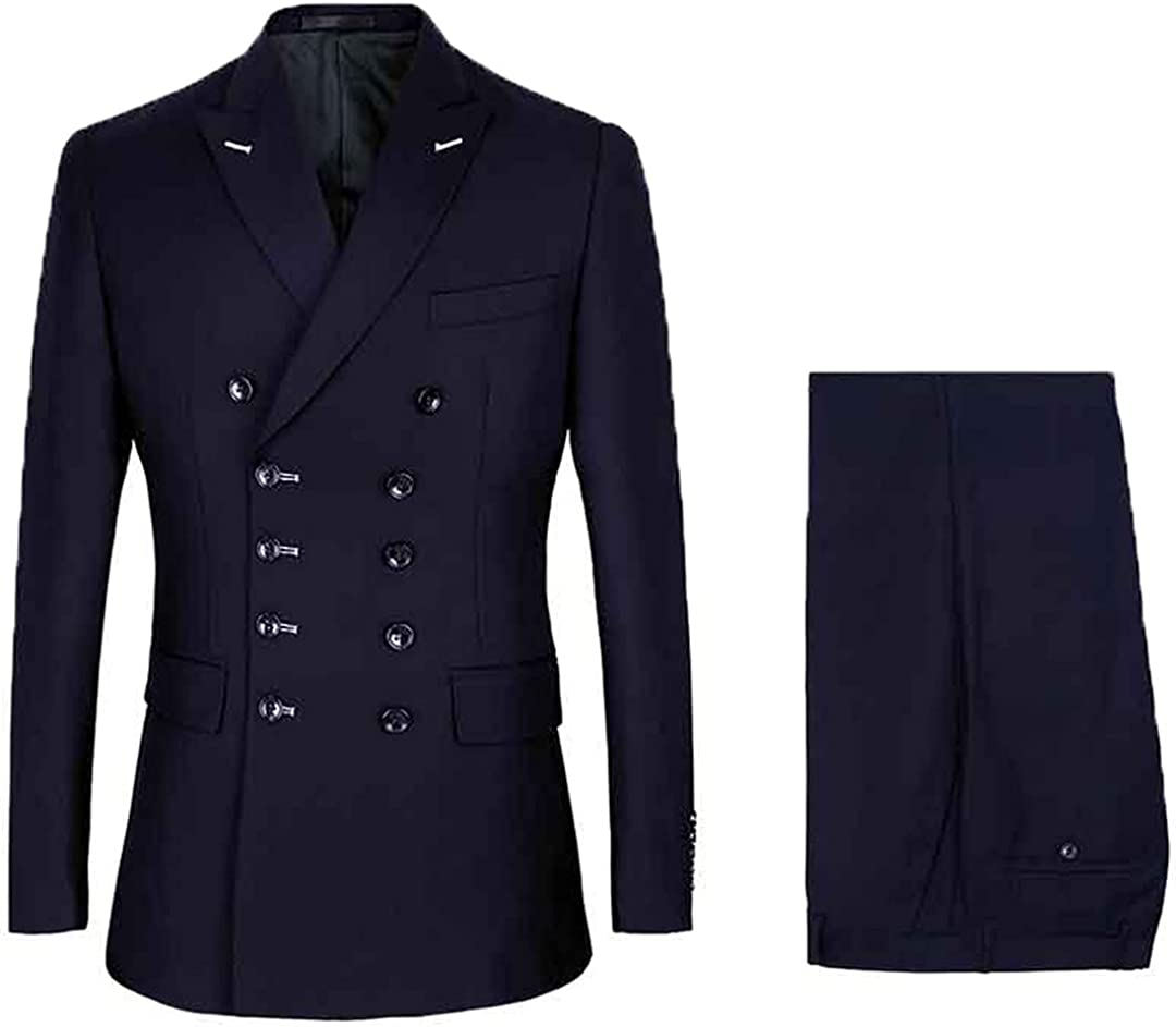 Men Slim Fit Business Casual Double Breasted Blazers Coat Trousers Wedding Groom Skinny 2 Pcs Suits