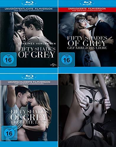 Fifty Shades of Grey 1 - 3 Geheimes Verlangen - Gefährliche Liebe - Befreite Lust (inkl. ein Paar Handschellen)