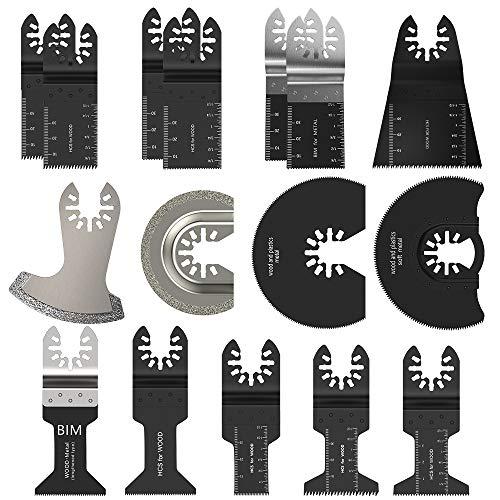 Sägeblätter Kit Mix Klingen Multitool Universal 16tlg. Pro Schnellspanner Multifunktionswerkzeug für Fein Multimaster, Rockwell, Makita, Bosch Handwerker und mehr