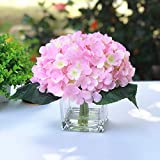 Enova Home 7 Steams Purple Hydrangea Silk Flower Centerpiece Arrangement in Clear Glass Vase with Faux Water for Home Decor Wedding Parties (Pink)