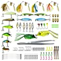 SETLUX Fishing Lures Baits Tackle Kit, 101 Pcs Box Set Including Crankbaits, Spinnerbaits, Plastic Worms, Jigs, Topwater Lures and More Fishing Gear Lures